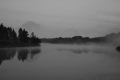 Grand Tetons in the morning fog Royalty Free Stock Images