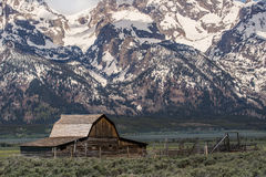 Grand tetons moulton barn mountain landscape old west ghost town. Historic landmark - the john multon homestead and barn located in the grand tetons national Royalty Free Stock Photography
