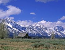 Grand Tetons National Park. View of a Barn with mountains in the background Stock Images