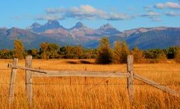 Grand Tetons near Tetonia. Tetons from across farmland near Tetonia Idaho USA Royalty Free Stock Image