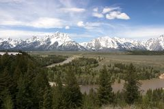 Grand Tetons NP and the Snake River. Grand Tetons National Park and the Snake River Stock Photo