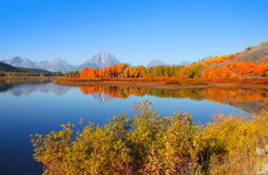 Grand Tetons from Oxbow bend Royalty Free Stock Image