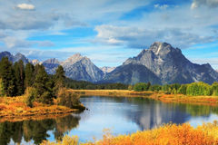 Grand Tetons at Oxbow Bend Stock Photography