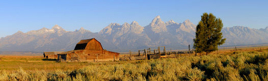 Grand Tetons Panorama. Panorama of Tetons with sagebrush and the old Moulton barn on Mormon row in foreground, taken in late summer in the Grand Teton National stock image