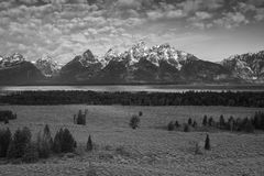 The Grand Tetons Peaks in B + W Stock Photos