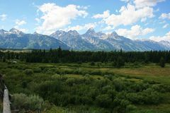 Grand Tetons with pole fence Stock Photos