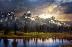 Grand Tetons and reflection royalty free stock photos
