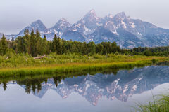 The Grand Tetons  at sunrise Stock Photography