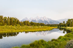 The Grand Tetons  at sunrise Stock Photos
