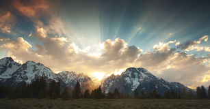 Grand Tetons Sunset stock photo