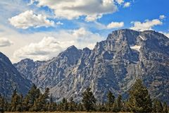 Grand Tetons at Sunset with a Blue Sky. Grand Tetons National Park, Wyoming Royalty Free Stock Photos