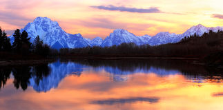 Grand Tetons Sunset Panorama. The Tetons reflecting in the Snake River at Oxbow Bend - Grand Teton National Park, Wyoming Stock Photography