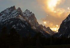 Grand Tetons at sunset stock photos
