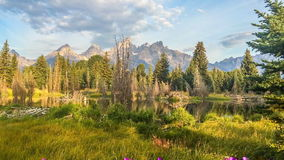 Grand Tetons view from Schwabacher Landing stock footage