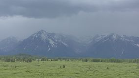 Grand Tetons in Wyoming. Grand Tetons mountain range with dramatic sky in Wyoming, USA stock video