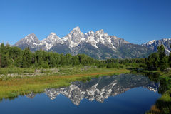 The Grand Tetons in Wyoming. The Grand Tetons and Snake River in Wyoming Stock Photos