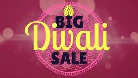 Grand texte de vente de Diwali sur le fond digitalement produit banque de vidéos