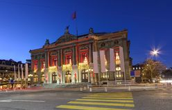 Grand Theatre or Big Theater, Geneva, Switzerland Royalty Free Stock Photos