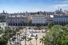 Grand Theatre and Central Park in Havana, Cuba. Aerial view of colonial buildings Grand Theatre and Capitolio in Havana, Cuba Stock Photo