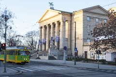 Grand Theatre, Poznan is a neoclassical opera house located in Poznan, Poland. Poznan, Poland - December 05, 2018: Grand Theatre, Poznan is a neoclassical opera royalty free stock image