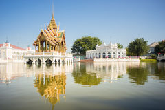 Grand Throne Hall in middle of the pond at Bang Pa-In Palace, Th Royalty Free Stock Image