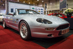 Grand tourer car Aston Martin DB7 Volante. MAASTRICHT, NETHERLANDS - JANUARY 14, 2016: Grand tourer car Aston Martin DB7 Volante. International Exhibition royalty free stock images