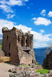 Grand Tower of the Urquhart Castle in Loch Ness Scotland. Grand Tower of the Urquhart Castle in Loch Ness, in Scotland. Loch Ness is a city in the Highlands in Stock Photos