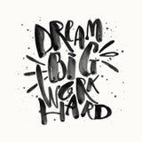 Grand travailler rêveur dur Glit d'or de motivation de lettrage de main de concept illustration de vecteur
