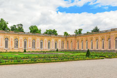 Grand Trianon-little pink marble and porphyry palace with delightful gardens. Chateau de Versailles. France royalty free stock images