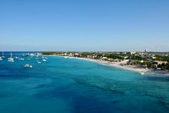 Grand Turk, Turks and Caicos. View of main beach at Grand Turk, an island belonging to the Turks and Caicos chain of islands in the Southern Caribbean Royalty Free Stock Photography