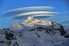 Grand UFO, sommet Bellecote, La Plagne, France Photo stock