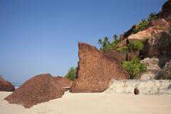 Grand une roche de coquille sur la plage. Photographie stock