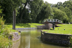 Grand Union canal. One of the many lock gates on the Grand Union canal Royalty Free Stock Image