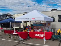 AARP Tent at Grand Junction RV Show. The Grand Valley RV Show in late March at the Mesa County Fairgrounds.    AARP tent and Daily Sentinel Stock Photography