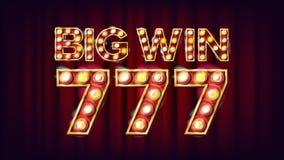Grand vecteur de bannière de la victoire 777 Élément rougeoyant du casino 3D Pour la conception de la publicité de fortune Lucky  Image stock
