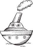 Grand vecteur de bateau de griffonnage Photos libres de droits