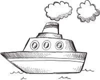 Grand vecteur de bateau de griffonnage illustration libre de droits