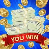 Grand vecteur de fond de gagnant Illustration de gros lot de pièces d'or Grande bannière de victoire Pour le casino en ligne, jou illustration stock