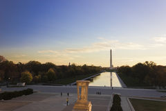 Grand view eastwards out onto the National Mall from the Lincoln Memorial steps, Washington DC Stock Images