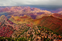 The Grand View of the Grand Canyon. A view of Grand Canyon`s Horse Shoe Mesa from the Grand View Trail on the south rim. This was shot during a rainy day, which Stock Photography
