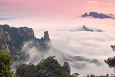 Sea of clouds in sunset Royalty Free Stock Photos