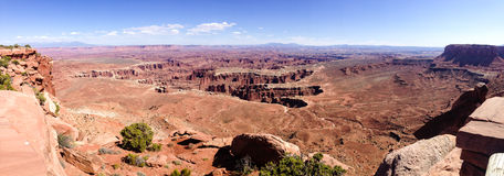 Grand viewpoint overlook panorama, Canyonlands, blue sky Stock Images