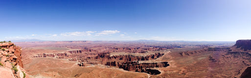 Grand viewpoint overlook panorama, Canyonlands, blue sky Stock Photography