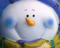Grand visage bleu de bonhomme de neige Images libres de droits
