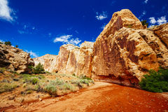 Grand Wash trail, Capital Reef National Park, Utah, USA. Grand Wash is a famous gorge that cuts its way through the upper portion of the Waterpocket Fold in Stock Photo