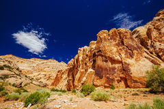 Grand Wash trail, Capital Reef National Park, Utah, USA. Grand Wash is a famous gorge that cuts its way through the upper portion of the Waterpocket Fold in Royalty Free Stock Photography