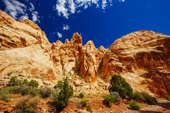 Grand Wash trail, Capital Reef National Park, Utah, USA. Grand Wash is a famous gorge that cuts its way through the upper portion of the Waterpocket Fold in Stock Photography
