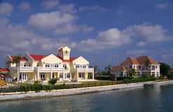 Grand Waterfront Homes on Grand Cayman. Beautiful waterfront homes in Grand Cayman Royalty Free Stock Images