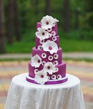Grand wedding cake with flowers Royalty Free Stock Image