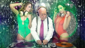 Grandad dj and his 2 dancing gogos